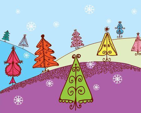 bucolical: Christmas card with firs cartoon