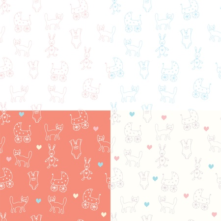 Seamless wallpapers for baby textile Vector