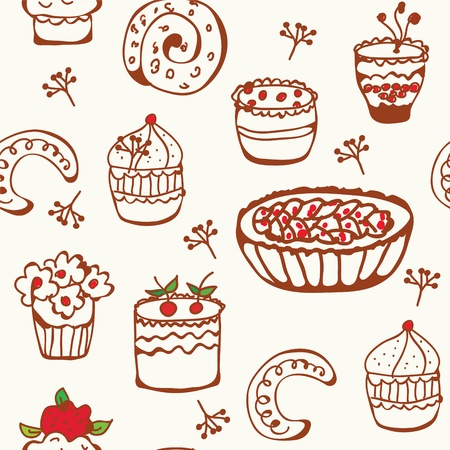 Baking doodle seamless pattern with sweets