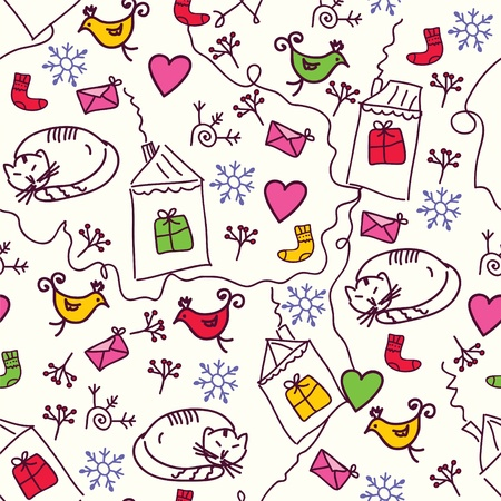 Christmas seamless pattern with cats and birds Vector