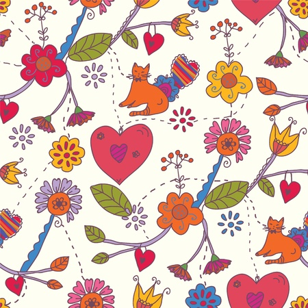 Floral valentine seamless pattern with cat Illustration