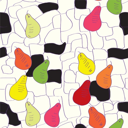 Seamless pattern with pear and graphic elements Vector