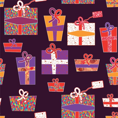 Seamless wallpapers with presents for holidays Vector