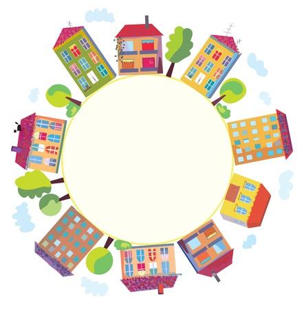 Case della città in segno cerchio Vettoriali