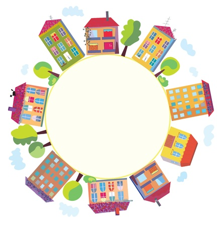 neighbors: City houses in circle sign