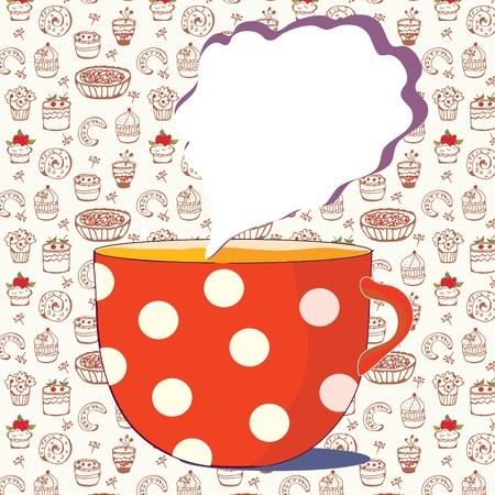 낙서 패턴 차 카드의 컵