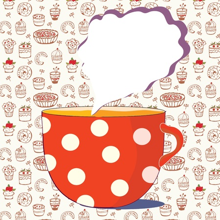 Cup of tea card with doodle pattern Vector