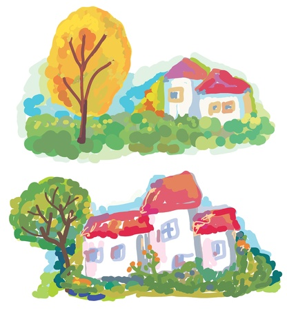Banners with landscape and houses painting Stock Vector - 11909482