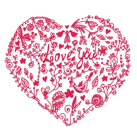 fita: Valentine heart in doodle style