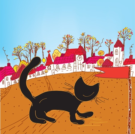 Fairytale autumn town and cat card Vector