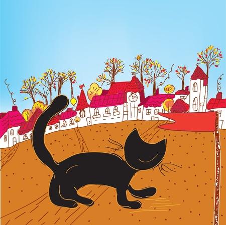 Fairytale autumn town and cat card