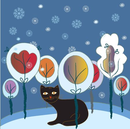marple: Christmas card with cat and forest fairytale