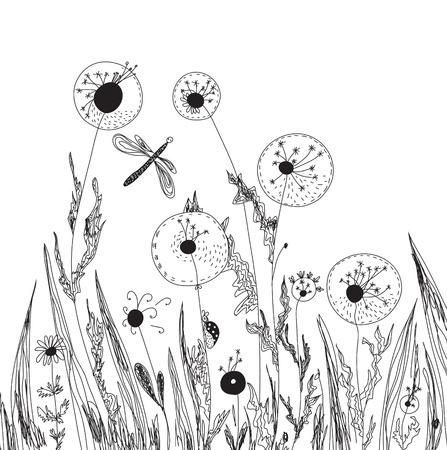 escarabajo: Dientes de le�n y la hierba la naturaleza de la tarjeta gr�fica Vectores