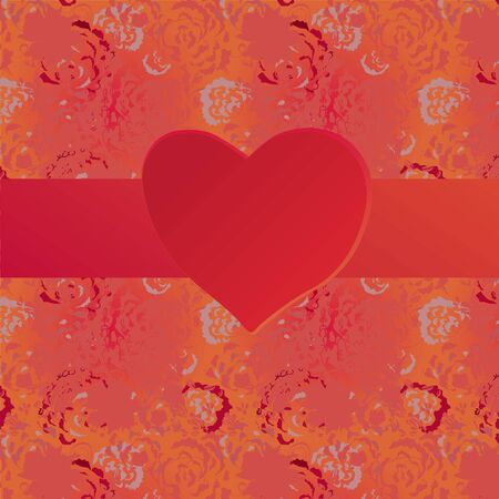 artnouveau: Valentine card with heart and grunge pattern