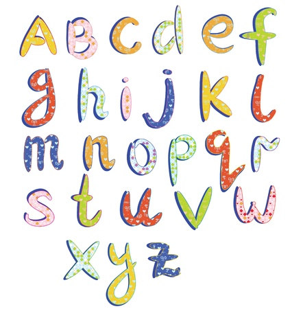 Childish alphabet with funny patterns cartoon Vectores