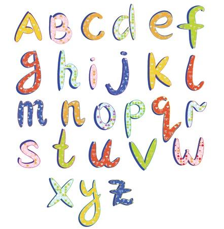 Childish alphabet with funny patterns cartoon Illusztráció