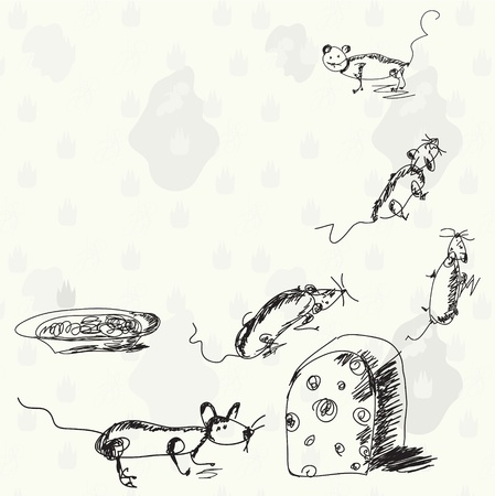 mouse hole: Funny mouses and cheese cartoon