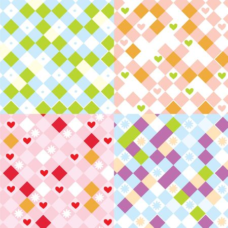 Childrens plaid seamless pattern set Vector