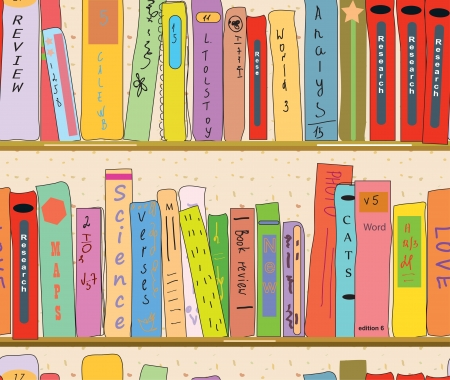 Book shelves in the library seamless wallpaper Vector
