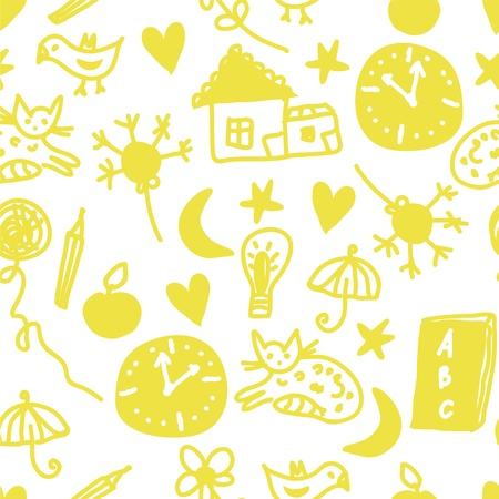 Funny children seamless pattern with cats and clocks Vector