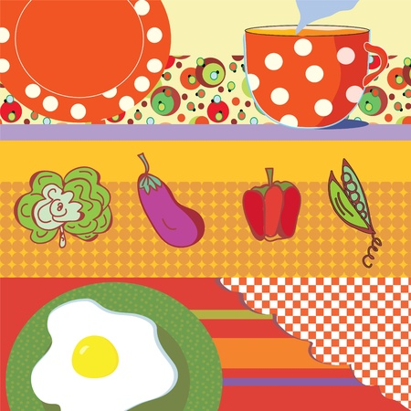 Food banners with eggs, tea, vegetables set Stock Vector - 12162697