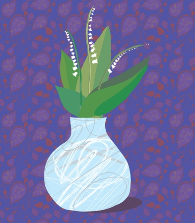Lily vintage greeting card with pattern Vector