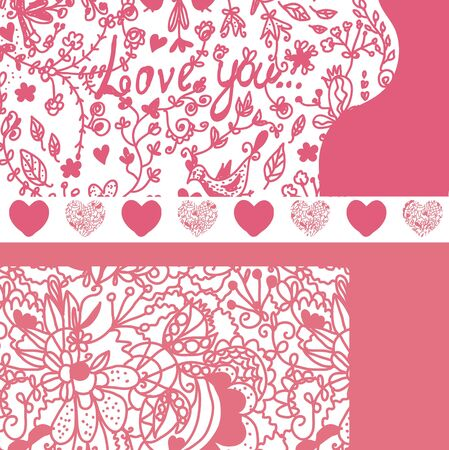Valentine banners set with patterns Vector