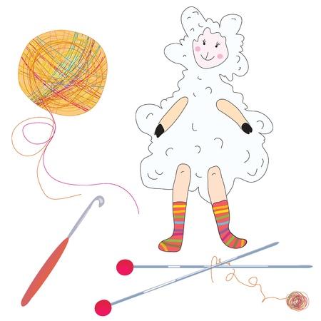 crotchet: Knitting set with needles and ships funny cartoon