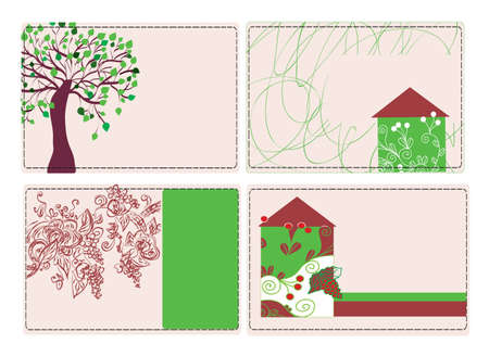 Business cards with house and trees set Illustration