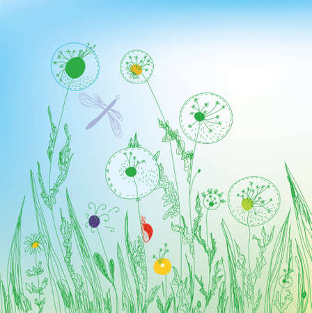 Dandelion and grass field background Vector