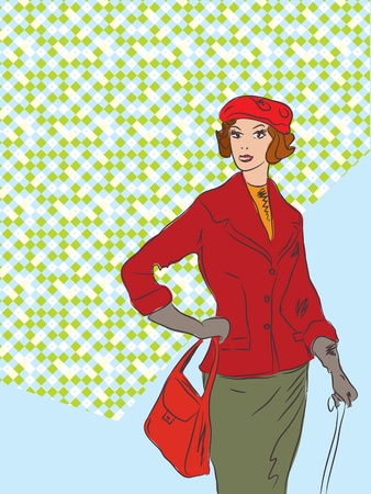 Fashion retro woman background with pattern Vector