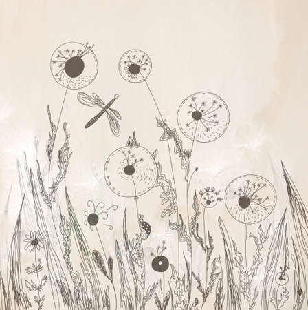 Dandelion floral background artistic in pastel colors photo