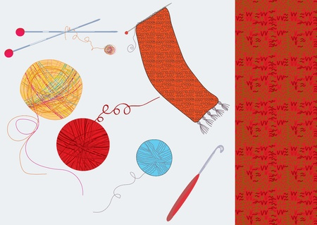 양모와 직물로 설정 뜨개질