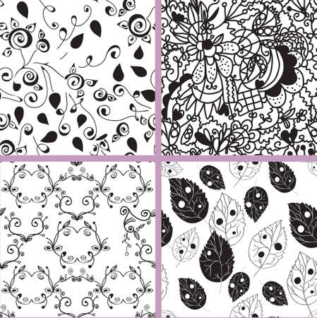 artistic flower: Black and white seamless patterns set