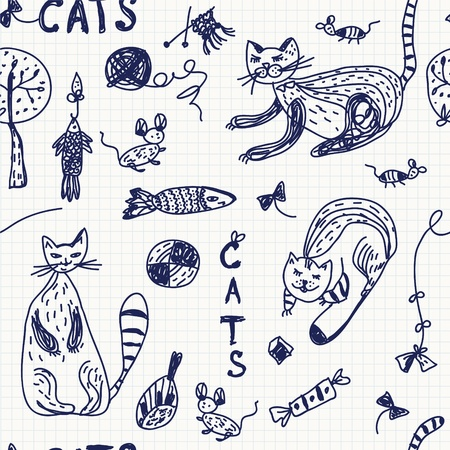 Seamless background with doodle cats and animals Vector