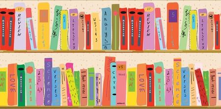 Boekenkast banner grappige cartoon
