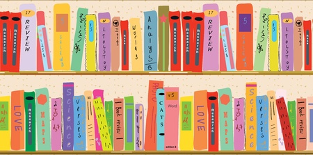 Book shelf banner funny cartoon