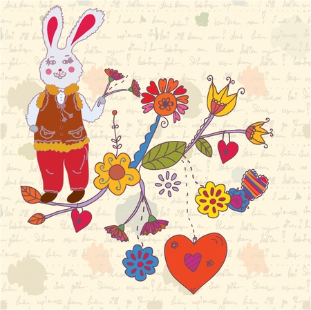 Vintage easter card with rabbit and flowers Vector