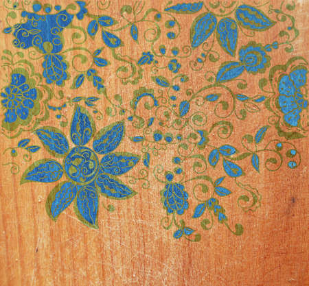 creative writing: Wood texture with floral pattern  Stock Photo