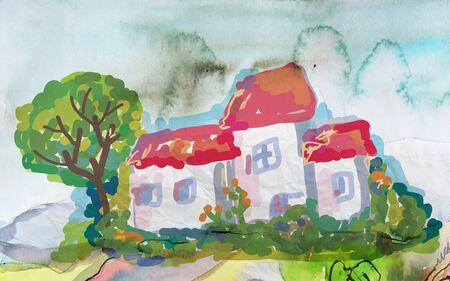lake house: Village house landscape with tree illustration