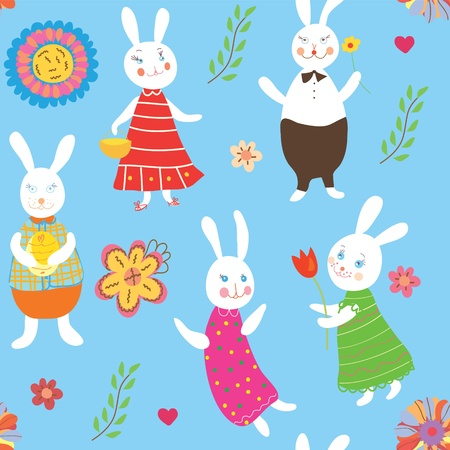 cartoons outline: Seamless background with rabbits and flowers
