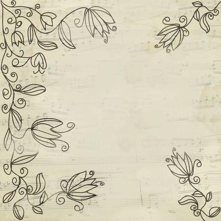 lyrics: Music vintage floral background with stave