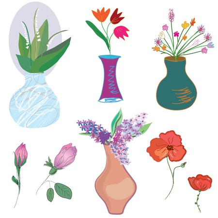 Vases And Flowers Set Funny Cartoon Royalty Free Cliparts Vectors