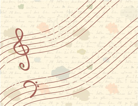 octaves: Musical vintage background with handwriting