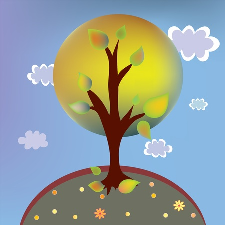 Autumn tree landscape cartoon with clouds Vector