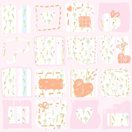 Pink floral patterns background with hearts Vector