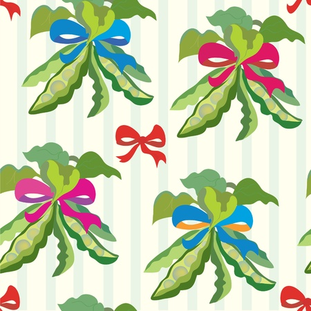 Kitchen seamless pattern with pea and bows Vector