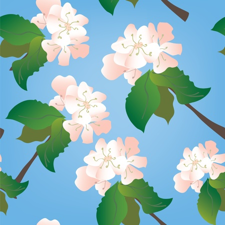 Apple flowers seamless traditional pattern Vector