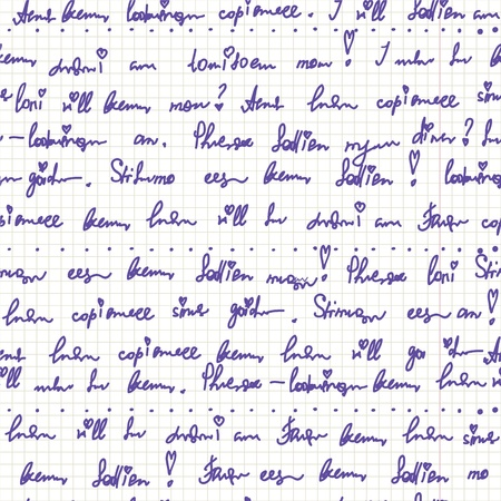 Handwriting on the paper seamless pattern cute Vectores