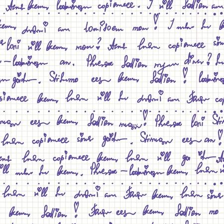 cuadros blanco y negro: De escritura a mano en el patrón de papel transparente linda
